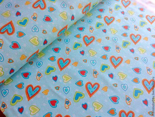 Шитье ручной работы. Ярмарка Мастеров - ручная работа. Купить Ткань фланель для пэчворка Сердечки бирюза. Handmade. Пэчворк