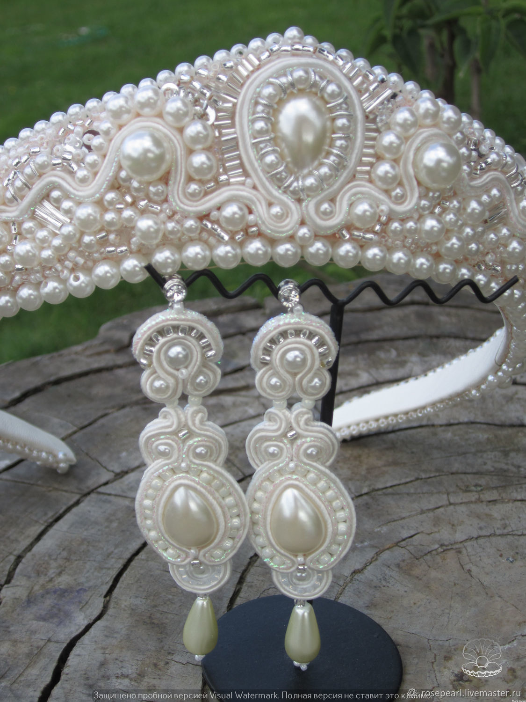 7aee2e401 Wedding Jewelry handmade. Wedding long soutache earrings from the collection  'Russian beauty'.