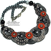 Украшения handmade. Livemaster - original item Necklace orange gray combination(401) author`s handmade. Handmade.