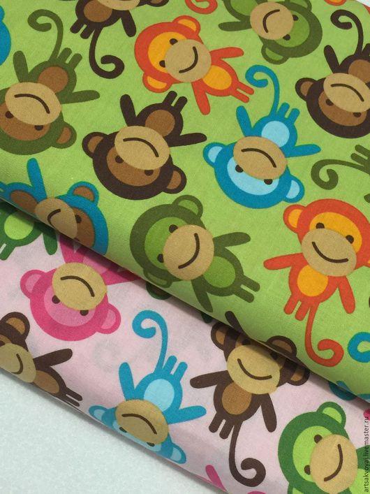 """Шитье ручной работы. Ярмарка Мастеров - ручная работа. Купить Ткань """"Monkeys"""". Handmade. Зеленый, ткань для скрапбукинга, детский принт"""
