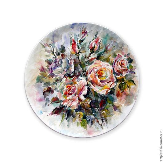 Керамическая тарелка Чайная роза. Керамика ручной работы. Ярмарка мастеров.