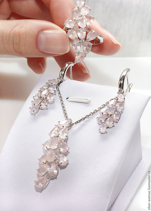 Комплект с натуральным розовым кварцем, серебро 925