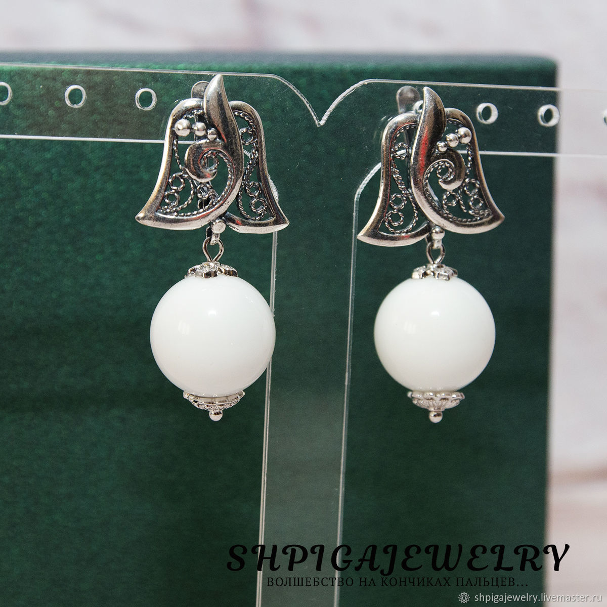 Silver plated earrings with natural white agate large `White tulip`