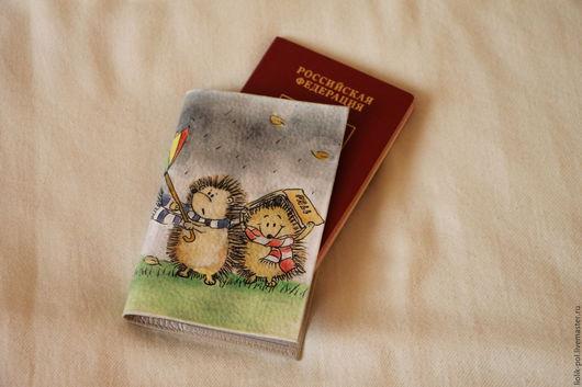 """Обложки ручной работы. Ярмарка Мастеров - ручная работа. Купить Обложка на паспорт """"Ежики"""". Handmade. Паспорт, обложка на документы, еж"""