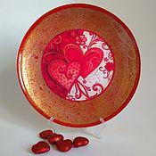 Тарелки ручной работы. Ярмарка Мастеров - ручная работа Тарелка декоративная Сердце для любимого, День святого Валентина. Handmade.