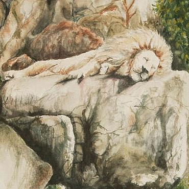 Картины и панно ручной работы. Ярмарка Мастеров - ручная работа Спящий лев, акварель. Handmade.