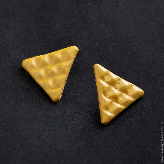Серьги ручной работы. Ярмарка Мастеров - ручная работа. Купить Стильные желтые серьги треугольной формы с рельефным узором.. Handmade.