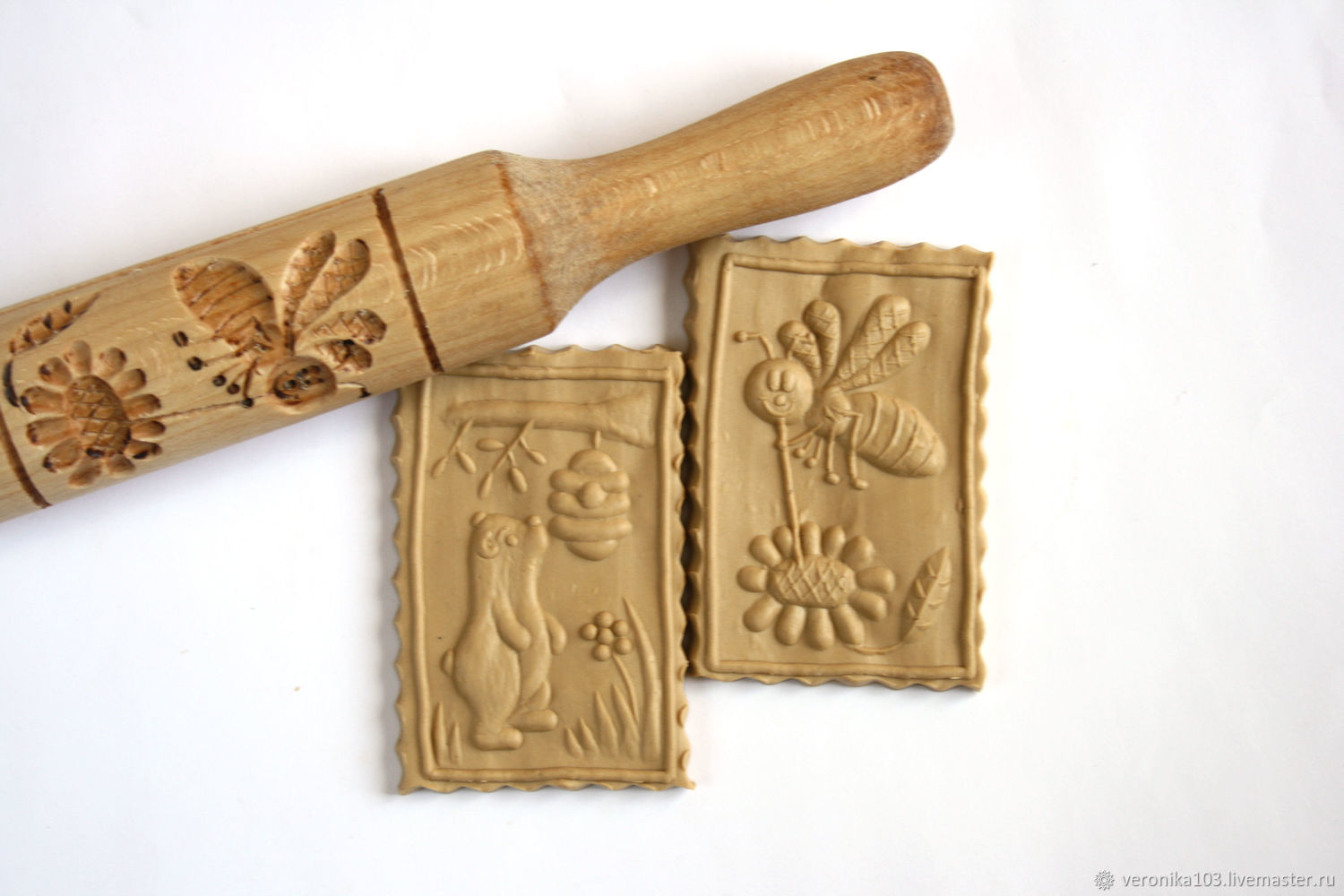 Rolling Pins handmade. Livemaster - handmade. Buy Rolling pin for cookies and gingerbread bear and bee.Bear