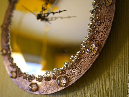 """Часы для дома ручной работы. Ярмарка Мастеров - ручная работа. Купить Часы настенные зеркальные """"Зеркальное кружево"""". Handmade. Бежевый"""