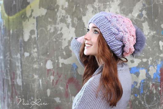 Шапки ручной работы. Ярмарка Мастеров - ручная работа. Купить Вязаная шапочка «Mood». Handmade. Бледно-розовый, шапочка, объемная