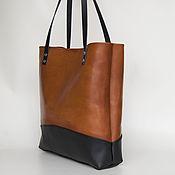Сумки и аксессуары ручной работы. Ярмарка Мастеров - ручная работа Женская рыжая с черным кожаная сумка шоппер. Handmade.