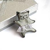 Brooches handmade. Livemaster - original item Cat brooch made of polymer clay ballerina gray silver. Handmade.