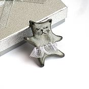 Украшения handmade. Livemaster - original item Cat brooch made of polymer clay ballerina gray silver. Handmade.