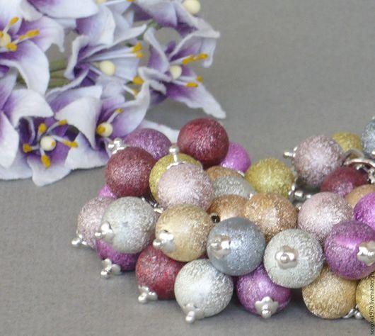 Комплект `Первоцветы` браслет и серьги. Украшения ручной работы от Сороки.