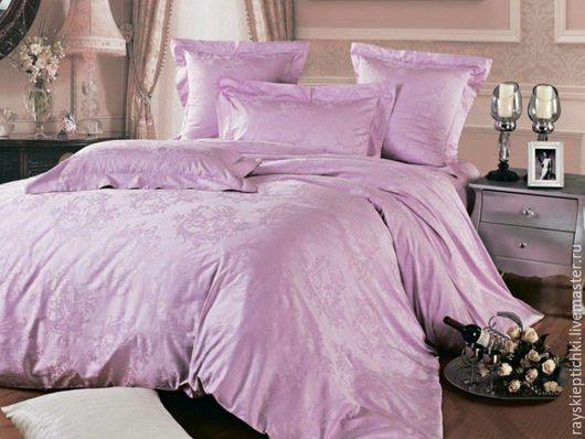 """Текстиль, ковры ручной работы. Ярмарка Мастеров - ручная работа. Купить """"Розовая сирень""""комплект постельного белья, сатин-жаккард,100%хлопок. Handmade."""
