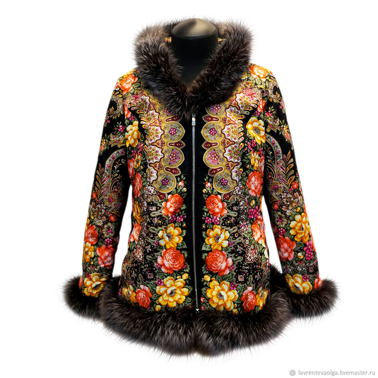 Jacket with fur of pavlovoposadskaja scarf, Outerwear Jackets, Moscow,  Фото №1