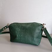 Сумки и аксессуары handmade. Livemaster - original item Leather bag. Crossbody bag. Puglias. Crocodile Green. Handmade.