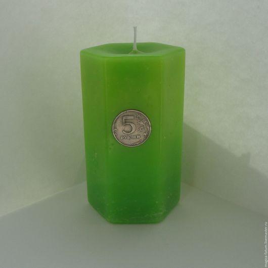 """Свечи ручной работы. Ярмарка Мастеров - ручная работа. Купить Свеча """"Денежный Пятак"""". Handmade. Ярко-зелёный, защита"""
