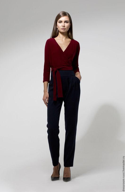 Блузки ручной работы. Ярмарка Мастеров - ручная работа. Купить Бордовая блузка на запах. Handmade. Бордовый, блузка нарядная