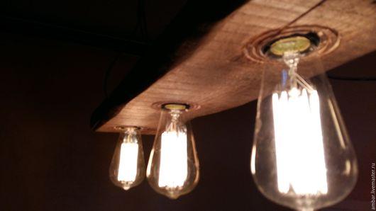 Освещение ручной работы. Ярмарка Мастеров - ручная работа. Купить Светильник Олдскул. Handmade. Комбинированный, светильник из дерева, свет в стиле