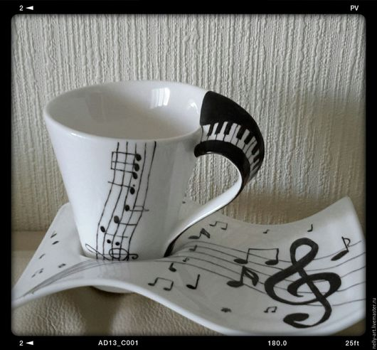 """Сервизы, чайные пары ручной работы. Ярмарка Мастеров - ручная работа. Купить Чайная пара """"Ноты"""". Handmade. Чёрно-белый"""
