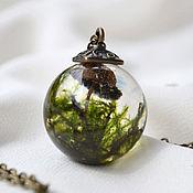 Украшения handmade. Livemaster - original item Transparent pendant-ball of resin jewelry with Real mushrooms and moss. Handmade.