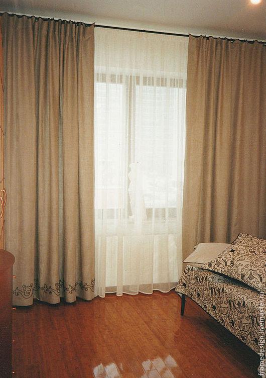 Текстиль, ковры ручной работы. Ярмарка Мастеров - ручная работа. Купить Льняные шторы для спальни с ручной вышивкой. Handmade. Бежевый