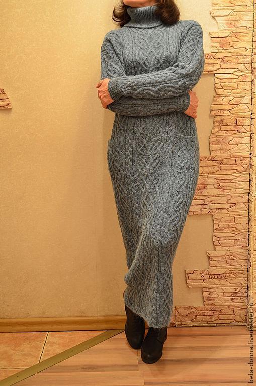 Платья ручной работы. Ярмарка Мастеров - ручная работа. Купить Платье в кельтских мотивах. Handmade. Платье, платье спицами, полынь