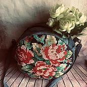 Сумки и аксессуары handmade. Livemaster - original item Bags: Round handbag with embroidery. Handmade.
