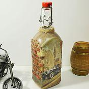 Банки ручной работы. Ярмарка Мастеров - ручная работа Бутылка декорированная. Ретро-автомобиль, декупаж. Handmade.