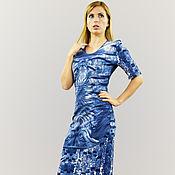 Одежда ручной работы. Ярмарка Мастеров - ручная работа Платье облегающее из джерси «Ультрамарин». Handmade.