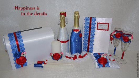 Свадебные аксессуары ручной работы. Ярмарка Мастеров - ручная работа. Купить Свадебный набор в сине-красном цвете. Handmade. Комбинированный