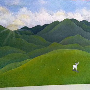 Картины и панно ручной работы. Ярмарка Мастеров - ручная работа Пейзаж с оленем-альбиносом. Handmade.