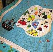 """Для дома и интерьера ручной работы. Ярмарка Мастеров - ручная работа Лоскутное одеяло """"Пиратская карта сокровищ"""". Handmade."""