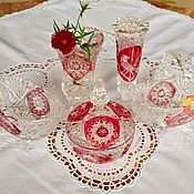 Винтаж handmade. Livemaster - original item German crystal set(5 pieces) Anna Hütte. Hofbauer Red Bird. Handmade.