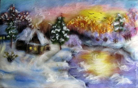 """Пейзаж ручной работы. Ярмарка Мастеров - ручная работа. Купить """"Зима цвета фламинго"""" Картина шерстью. Handmade. Розовый, фиолетовый"""