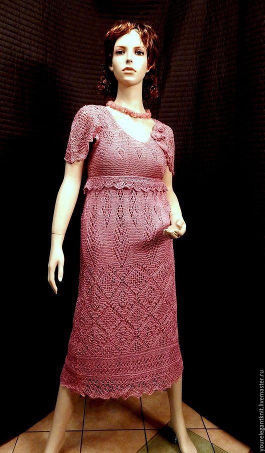 Платья ручной работы. Ярмарка Мастеров - ручная работа. Купить Shetland Lightness - шелковое платье спицами. Handmade. Розовый