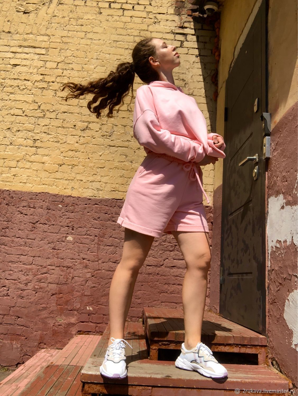 Оверсайз костюм шорты + худи (цвет Барби), Спортивные костюмы, Москва,  Фото №1