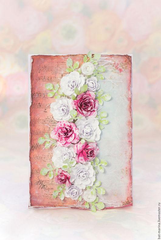Открытки на все случаи жизни ручной работы. Ярмарка Мастеров - ручная работа. Купить Открытка с розами ручной работы. Handmade. Розовый