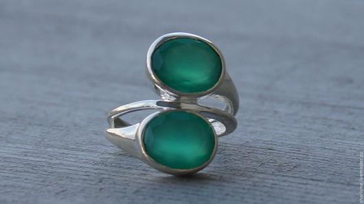 """Кольца ручной работы. Ярмарка Мастеров - ручная работа. Купить Серебряное кольцо с зеленым ониксом """"Green Onyx"""". Handmade. Зеленый"""
