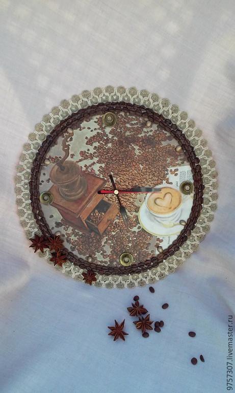 """Часы для дома ручной работы. Ярмарка Мастеров - ручная работа. Купить Часы для кухни """"Утренний кофе"""". Handmade. Разноцветный"""