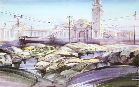 Город ручной работы. Ярмарка Мастеров - ручная работа. Купить Реки машин. Киевский вокзал. Handmade. Акварель, река, картина