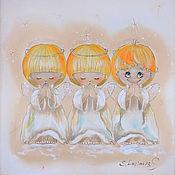 Картины и панно ручной работы. Ярмарка Мастеров - ручная работа Почти идеальный-картина на шелке с ангелами. Handmade.