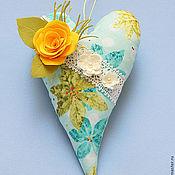 Для дома и интерьера ручной работы. Ярмарка Мастеров - ручная работа Текстильное сердце с цветами. Handmade.