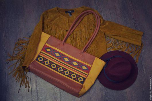 Женские сумки ручной работы. Ярмарка Мастеров - ручная работа. Купить Кожаная сумка ETNO. Handmade. Рыжий, сумка с декором