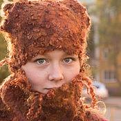 Аксессуары ручной работы. Ярмарка Мастеров - ручная работа Шапка и шарф-труба рыже-коричневый. Handmade.
