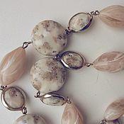 Винтаж handmade. Livemaster - original item Vintage Trifari Necklace Beige Long Beads Neck Decoration. Handmade.