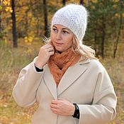 Аксессуары handmade. Livemaster - original item Caps: Fashionable knitted down hat made with braids. Handmade.
