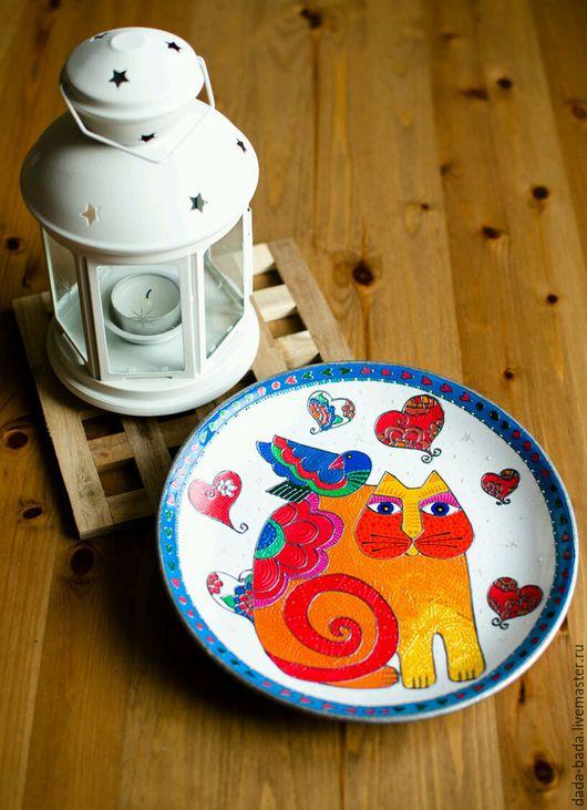 Декоративная посуда ручной работы. Ярмарка Мастеров - ручная работа. Купить Тарелка настенная Апельсиновая Мурка (белая). Handmade.