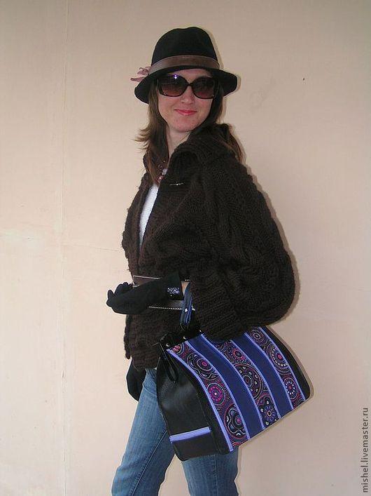Женские сумки ручной работы. Ярмарка Мастеров - ручная работа. Купить Саквояжик черно-синий этно.. Handmade. Тёмно-синий